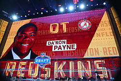 April 26, 2018 - Arlington, TX, U.S. - ARLINGTON, TX - APRIL 26:  Da'Ron Payne on the video board after being chosen by the Washington Redskins with the thirteenth pick during the first round at the 2018 NFL Draft at AT&T Statium on April 26, 2018 at AT&T Stadium in Arlington Texas.  (Photo by Rich Graessle/Icon Sportswire) (Credit Image: © Rich Graessle/Icon SMI via ZUMA Press)