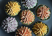 Chrysanthemum cupcakes made with buttercream flowers piped on top. (Steve Ringman / The Seattle Times)