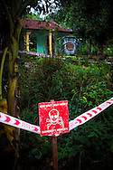 Warning sign in a UXO area, Quang Tri Province, Vietnam, Southeast Asia