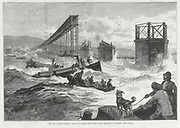 Tay Bridge disaster, 28 December  1879. Steam launches and divers' barge taking part in the search of the wreckage.  Engraving from 'The Illustrated London News', 1879.