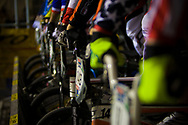 Riders on the start line at the UCI BMX Supercross World Cup in Manchester, UK