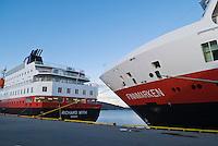 Hurtigruten, Norwegian coastal ferry at port in the village of Rørvik, Norway