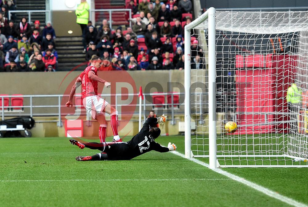 Aden Flint of Bristol City scores  - Mandatory by-line: Joe Meredith/JMP - 10/02/2018 - FOOTBALL - Ashton Gate Stadium - Bristol, England - Bristol City v Sunderland - Sky Bet Championship