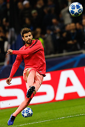November 6, 2018 - Milan, Italy - Gerard Pique of Barcelona shoots on goal during the warm-up ahead of the Group B match of the UEFA Champions League between FC Internazionale and FC Barcelona on November 6, 2018 at San Siro Stadium in Milan, Italy. (Credit Image: © Mike Kireev/NurPhoto via ZUMA Press)
