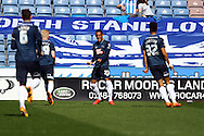 Thomas Ince of Derby County (c) celebrates with his teammates after scoring his teams 1st goal. Skybet football league championship match, Huddersfield Town v Derby county at the John Smith's stadium in Huddersfield, Yorkshire on Saturday 18th April 2015.<br /> pic by Chris Stading, Andrew Orchard sports photography.