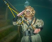 US Navy Mark-V commercial diver helmet commercial diver at Dutch Springs, Scuba Diving Resort in Bethlehem, Pennsylvania