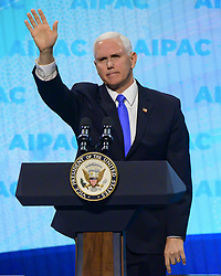 March 25, 2019 - Washington, District of Columbia, U.S. - United States Vice President Mike Pence speaks at the American Israel Public Affairs Committee (AIPAC) 2019 Policy Conference at the Washington Convention Center in Washington, DC on Monday, March 25, 2019  (Credit Image: © Ron Sachs/CNP via ZUMA Wire)