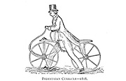 The Pedestrian Curricle, or Hobby Horse 1818 From Wheels and Wheeling; An indispensable handbook for cyclists, with over two hundred illustrations by Porter, Luther Henry. Published in Boston in  1892