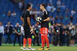 August 13, 2017 - Rome, Italy - Gianluigi Buffon of Juventus and Wojciech Szczesny of Juventus  during the Italian Supercup match between Juventus and SS Lazio at Stadio Olimpico on August 13, 2017 in Rome, Italy. (Credit Image: © Matteo Ciambelli/NurPhoto via ZUMA Press)