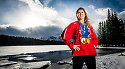 Hayley Wickenheiser poses for photos at Two Jack Lake near Banff, AB on December 21, 2018.