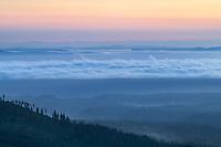 Fog over Strait of Juan de Fuca seen from Olympic National Park Washington