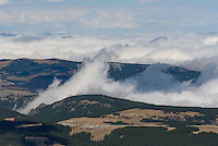 On a September morning the Bighorn Mountains were shrouded in clouds. But this was the view from the top of Black Mountain.