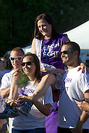 Pine Bush, New York - A cancer survivor gets a ride as people from the Pine Bush community participate in the Relay for Life on Saturday, June 7, 2014. The Relay for Life is the American Cancer Society's largest fundraising event. ©Tom Bushey / The Image Works