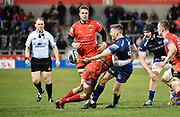 Sale Sharks scrum-half Will Cliff offloads the ball in the tackle during a Gallagher Premiership Rugby Union match Sale Sharks -V- Leicester Tigers, Sale won the match 36-3 on Friday, Feb. 21, 2020, in Eccles, United Kingdom. (Steve Flynn/Image of Sport via AP)