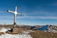 Large cross on the summit of Tschiernock (2088m), Nockberge National Park, a UNESCO Biosphere Reserve. Alpe Adria Trail, Carinthia, Austria (October 2015) © Rudolf Abraham