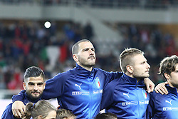 October 6, 2017 - Turin, Piedmont, Italy - Lorenzo Insigne (Italy, left), Leonardo Bonucci (Italy, center) and Ciro Immobile (Italy, right) during the Italy's national anthem before the FIFA World Cup European Qualifying match between Italy and FYR Macedonia at Olympic Grande Torino Stadium on 6 October, 2017 in Turin, Italy. (Credit Image: © Massimiliano Ferraro/NurPhoto via ZUMA Press)