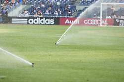 August 20, 2017 - New York, New York, United States - Grass on pitch watered before regular MLS game between NYC FC & New England Revolution on Yankee stadium NYC FC won 2 - 1  (Credit Image: © Lev Radin/Pacific Press via ZUMA Wire)