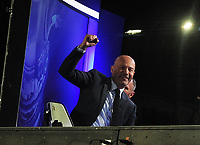 Football - 2019 / 2020 Emirates FA Cup - Fourth Round, Replay: Oxford United vs. Shrewsbury United<br /> <br /> Ex Newcastle player and Pundit, Alan Shearer,celebrates with the fans at the final whistle at the Kassam Stadium (Grenoble Road).<br /> <br /> COLORSPORT/ANDREW COWIE