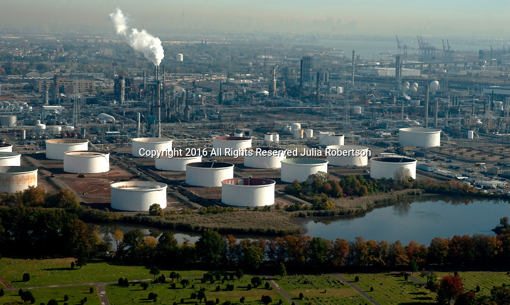 Aerial View of Petroleum oil Refinery in North New Jersey