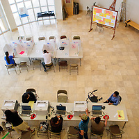 060314  Adron Gardner/Independent<br /> <br /> The McKinley County courthouse is open for voters during the Democratic primary election in Gallup Tuesday.