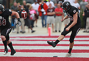 Lindenwood-Belleville kicker Zach Morris (96) makes the opening kickoff -- the first in the team's history -- against Avila to open their football season.