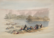 Banks of the Jordan River Color lithograph by David Roberts (1796-1864). An engraving reprint by Louis Haghe was published in a the book 'The Holy Land, Syria, Idumea, Arabia, Egypt and Nubia. in 1855 by D. Appleton & Co., 346 & 348 Broadway in New York.