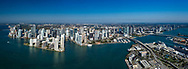 Downtown Miami aerial showing Biscayne Bay, Miami River, Port of Miami, looking west