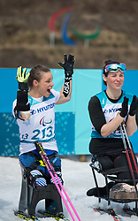 March 17, 2018 - Pyeongchang, South Korea - Oksana Masters celebrates her gold medal finish in the 5km Cross Country event Saturday, March 17, 2018 at the Alpensia Biathlon Center at the Pyeongchang Winter Paralympic Games. Photo by Mark Reis (Credit Image: © Mark Reis via ZUMA Wire)