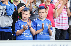 A couple of young Ipswich fans with blue dye in their hair - Mandatory by-line: Arron Gent/JMP - 10/08/2019 - FOOTBALL - Portman Road - Ipswich, England - Ipswich Town v Sunderland - Sky Bet League One