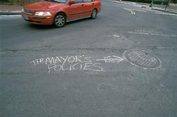 Lifestyle people family. Street graffiti regarding politics in Washington, DC CITY URBAN STOCK PHOTO