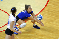 23 November 2017:  Kylee Macke digs during a college women's volleyball match between the Drake Bulldogs and the Indiana State Sycamores in the Missouri Valley Conference Tournament at Redbird Arena in Normal IL (Photo by Alan Look)