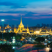 Sanam luang park with golden spears at night in Bangkok, Thailand