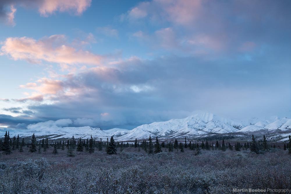Morning clouds over The Alaska Range, Denali National Park, Alaska