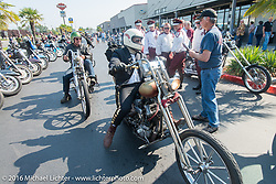 Sean Duggan arrives at the final checkpoint before the finish on his 1929 Harley-Davidson JD during Stage 16 (142 miles) of the Motorcycle Cannonball Cross-Country Endurance Run, which on this day ran from Yakima to Tacoma, WA, USA. Sunday, September 21, 2014.  Photography ©2014 Michael Lichter.