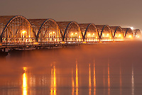 Fog on Kiso River, near Route One, which leads to Nagoya City, Japan.