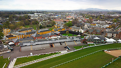 Aerial view from drone of Musselburgh Racecourse  grandstand and pavilion , East Lothian, Scotland, UK