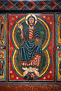 Painted wooden panel of the Altar of d'Ix showing Christ Patocrator. From the Church of Sanit Matin d'Ix, La Guinguetta d'Ix, Alta Cerdanya, Spain.  National Art Museum of Catalonia, Barcelona 1958. Ref: MNAC 15802. .<br /> <br /> If you prefer you can also buy from our ALAMY PHOTO LIBRARY  Collection visit : https://www.alamy.com/portfolio/paul-williams-funkystock/romanesque-art-antiquities.html<br /> Type -     MNAC     - into the LOWER SEARCH WITHIN GALLERY box. Refine search by adding background colour, place, subject etc<br /> <br /> Visit our ROMANESQUE ART PHOTO COLLECTION for more   photos  to download or buy as prints https://funkystock.photoshelter.com/gallery-collection/Medieval-Romanesque-Art-Antiquities-Historic-Sites-Pictures-Images-of/C0000uYGQT94tY_Y