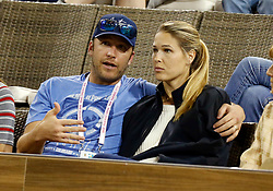 March 10, 2018 - Indian Wells, CA, U.S. - INDIAN WELLS, CA - MARCH 10: Alpine skier  Bode Miller and  Morgan Beck views a second round match between Roger Federer and Federico Debonis at the BNP Paribas Open on March 10, 2018, at the Indian Wells Tennis Gardens in Indian Wells, CA. (Photo by Adam  Davis/Icon Sportswire) (Credit Image: © Adam Davis/Icon SMI via ZUMA Press)