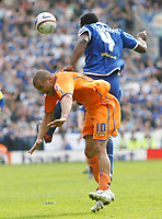 Photo: Steve Bond/Richard Lane Photography. <br />Leicester City v Sheffield Wednesday. Coca-Cola Championship. 26/04/2008. Bruno N'Gotty (top) out muscles Deon Burton (lower)