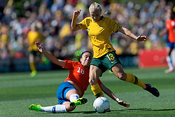 November 10, 2018 - Penrith, NSW, U.S. - PENRITH, NSW - NOVEMBER 10: Australian midfielder Tameka Butt (13) is tackled by Chilean midfielder Camila S‡ez (18) at the international women's soccer match between Australia and Chile at Panthers Stadium in NSW on November 10, 2018. (Photo by Speed Media/Icon Sportswire) (Credit Image: © Speed Media/Icon SMI via ZUMA Press)