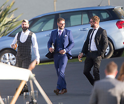 Shane Lynch, Keith Duffy and Brian McFadden. Ronan Keating wedding to Storm Uechtritz at Archerfield today.