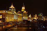 A view of the Bund District, and older section, of Shanghi, China at night