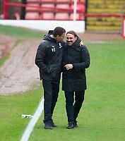 Football - 2020 / 2021 Sky Bet Championship - Barnsley vs Norwich City - Oakwell<br /> <br /> Norwich City manager Daniel Farke and Barnsley manager Valerien Ismael embrace before kickoff <br /> <br /> Credit :COLORSPORT/BRUCE WHITE