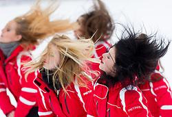 Cheerleaders Petrol Ladies during 2nd Run of the 10th Men's Slalom - Pokal Vitranc 2013 of FIS Alpine Ski World Cup 2012/2013, on March 10, 2013 in Vitranc, Kranjska Gora, Slovenia. (Photo By Vid Ponikvar / Sportida.com)