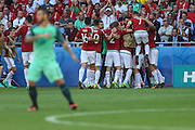 The player Hungary, Zoltan Gera celebrates goal against Portugal during the match of Euro Group F 2016 in Stade des Lumières in Lyon, France, on Wednesday.