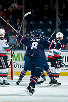 KELOWNA, BC - MARCH 7: Oliver Okuliar #8 of the Lethbridge Hurricanes celebrates a first period goal against the Kelowna Rockets at Prospera Place on March 7, 2020 in Kelowna, Canada. (Photo by Marissa Baecker/Shoot the Breeze)