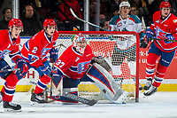 KELOWNA, CANADA - MARCH 3: Dawson Weatherill #37 of the Spokane Chiefs defends the net against the Kelowna Rockets  on March 3, 2018 at Prospera Place in Kelowna, British Columbia, Canada.  (Photo by Marissa Baecker/Shoot the Breeze)  *** Local Caption ***