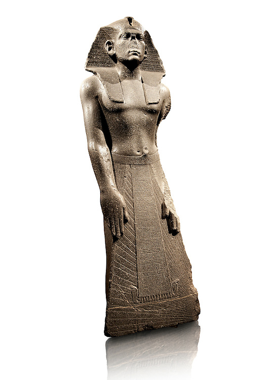 12 dynasty Egyptian statue of king Amenemhet III praying. 1840-1800 BC, Memphis. Neues Reiche Museum, Berlin. Cat No AM1121 .<br /> <br /> If you prefer to buy from our ALAMY PHOTO LIBRARY  Collection visit : https://www.alamy.com/portfolio/paul-williams-funkystock/ancient-egyptian-art-artefacts.html  . Type -   Neues    - into the LOWER SEARCH WITHIN GALLERY box. Refine search by adding background colour, subject etc<br /> <br /> Visit our ANCIENT WORLD PHOTO COLLECTIONS for more photos to download or buy as wall art prints https://funkystock.photoshelter.com/gallery-collection/Ancient-World-Art-Antiquities-Historic-Sites-Pictures-Images-of/C00006u26yqSkDOM