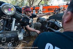 Custom bike builder Brad Gregory at Harley Davidson's Editor's Choice Bike Show at the Broken Spoke Saloon during Daytona Bike Week 75th Anniversary event. FL, USA. Wednesday March 9, 2016.  Photography ©2016 Michael Lichter.