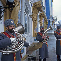 Musicians play outside the entance to the extravagant Catherine's Palace at Tsarskoye Selo (Pushkin), near Saint Petersburg, Russia.